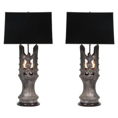 1930s Solid Bronze Table Lamp, Pair
