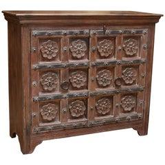 1930s Solid Teak Wood Highly Ornamental Vanity from a Dutch Colonial Farm