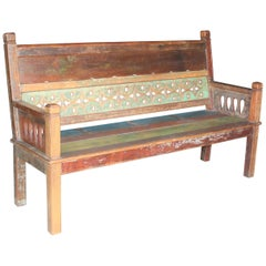 1930s Solid Teak Wood Robustly Constructed Bench from Dutch Colonial Farm