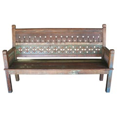 1930s Solid Teak Wood Rustic Style Dutch Colonial Farm Bench in Good Condition