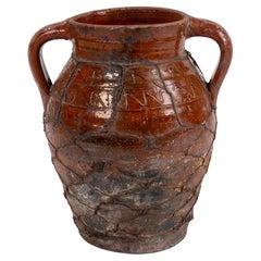 1930s Spanish Glazed Ceramic Vase w/ Iron Mesh