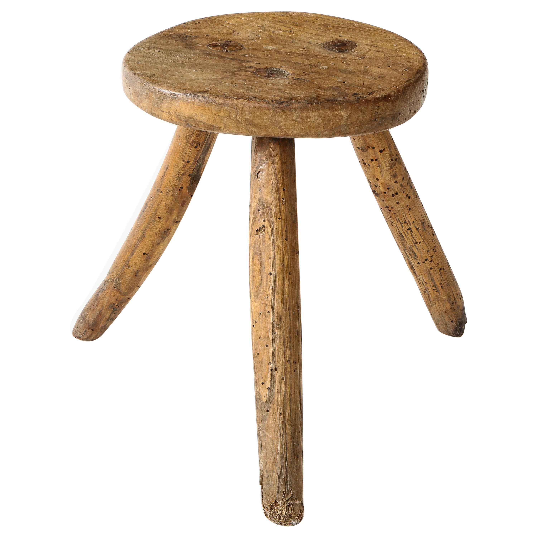 1930s Spanish Primitive Rustic Wood Splayed Leg Tripodal Stool