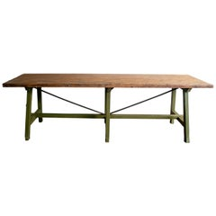 1930s Spanish Wooden Industrial Table from Old Bakery