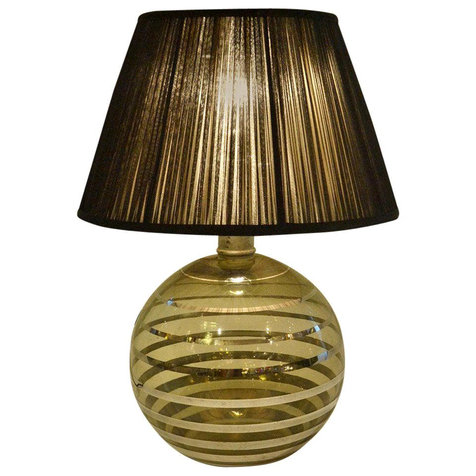 Glass Art Deco Table Lamp with Black Shade