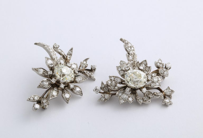 1930s Stamped E. Serafini Old European Cut Matching Diamond Pins For Sale 7