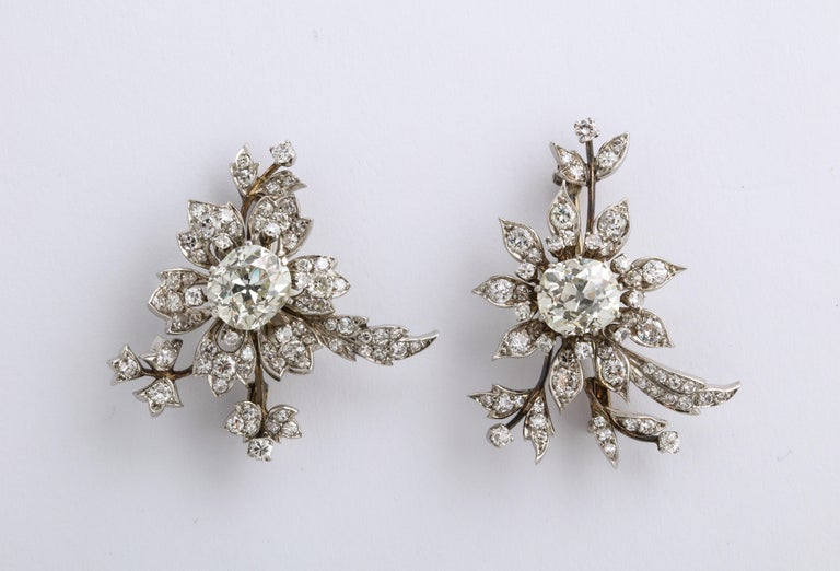 Women's 1930s Stamped E. Serafini Old European Cut Matching Diamond Pins For Sale