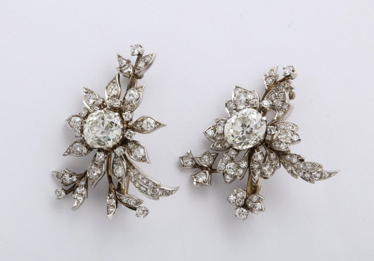 1930s Stamped E. Serafini Old European Cut Matching Diamond Pins For Sale 3