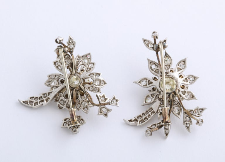 1930s Stamped E. Serafini Old European Cut Matching Diamond Pins For Sale 4