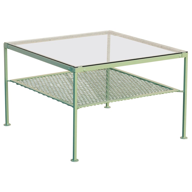 1930s Steel and Glass Square Patio Table, Refinished For ...