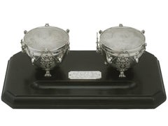 1930s Sterling Silver '3rd Hussars' Inkstand