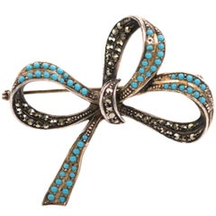 1930s Sterling Silver, Marcasite, Turquoise Ribbon Bow Brooch