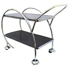 1930s Streamline Art Deco Chrome and Glass Hostess Trolley Bar Cart