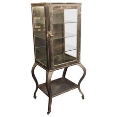 1930s Stripped and Lacquered Steel Medical Cabinet with Cabriole Legs