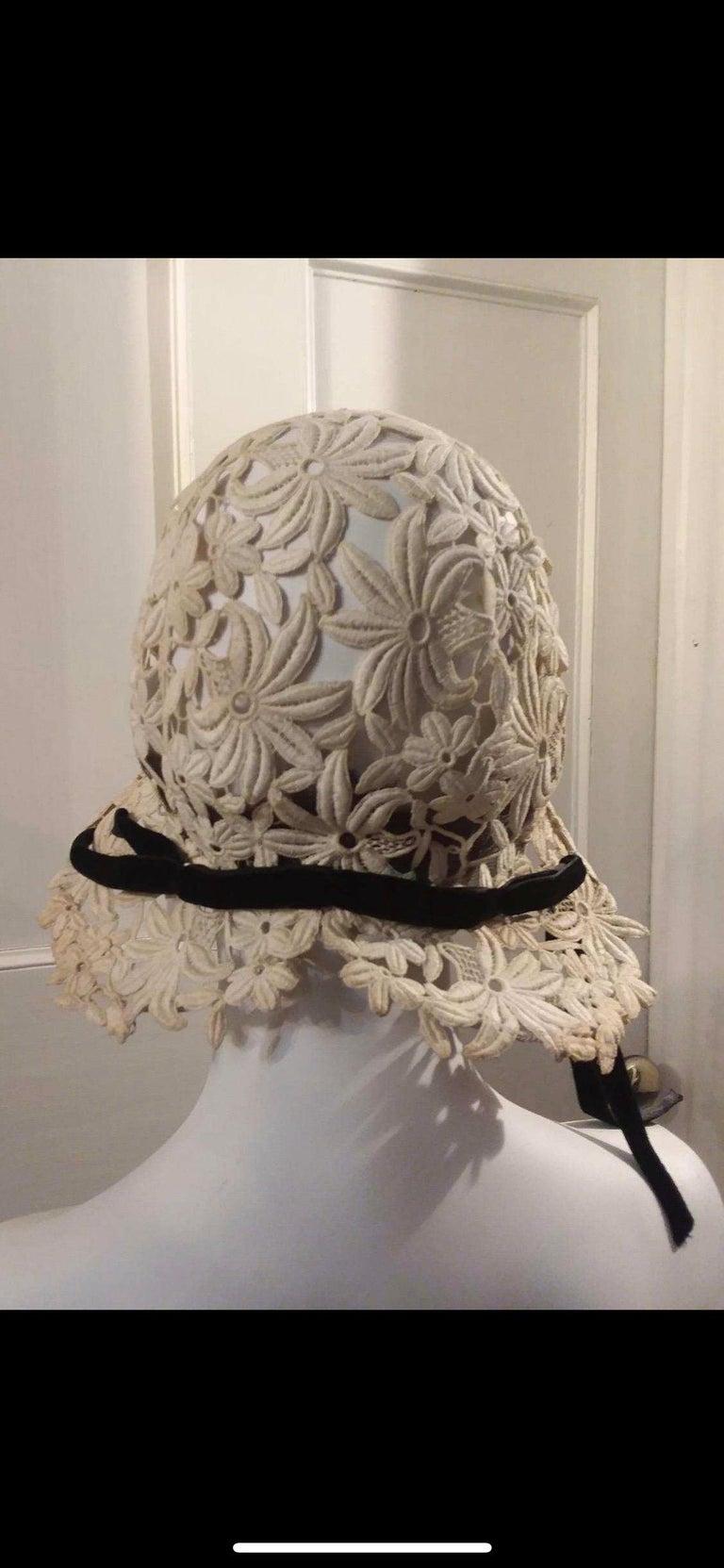 Women's 1930s Suzanne Rémy Belgian Lace Art Deco Style Helmet Cloche Wedding Hat  For Sale