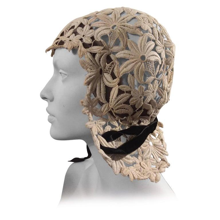 1930s Suzanne Rémy Belgian Lace Art Deco Style Helmet Cloche Wedding Hat  For Sale