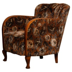 1930's Swedish Art Deco Club / Lounge Chair with Floral Rust Jacquard Velvet