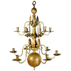 1930s Swedish Grace Brass Floral Chandelier by Lars Holmstrom, Arvika, Sweden