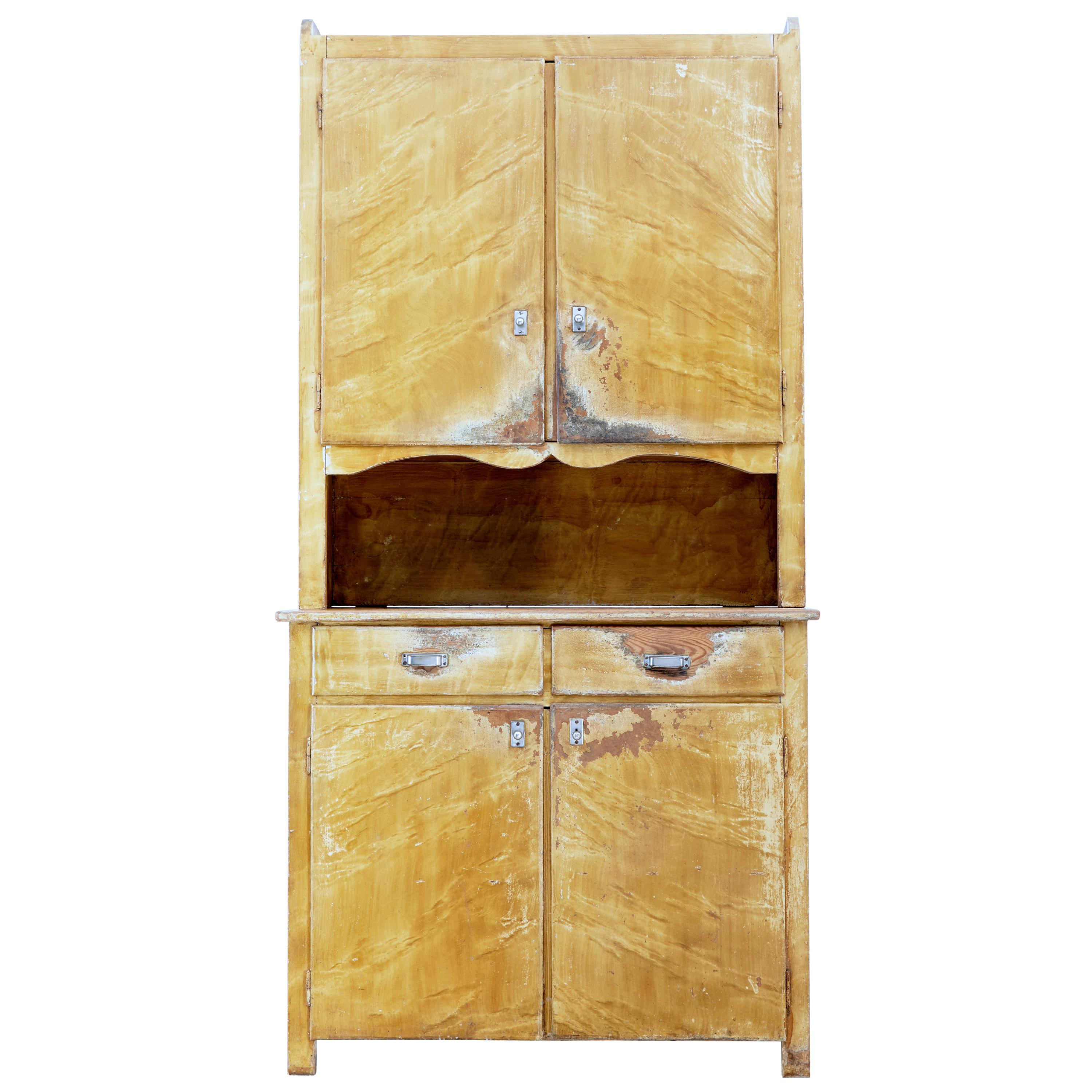 1930s Swedish Pine Distressed Painted Kitchen Cupboard