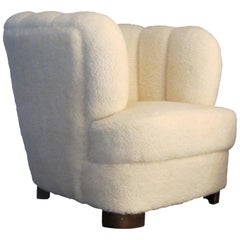 1930s Swedish Snug Art Deco Club Armchair Newly Upholstered in Lambskin Fabric