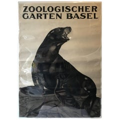 1930s Swiss Zoo Basel Seal on Rock Poster