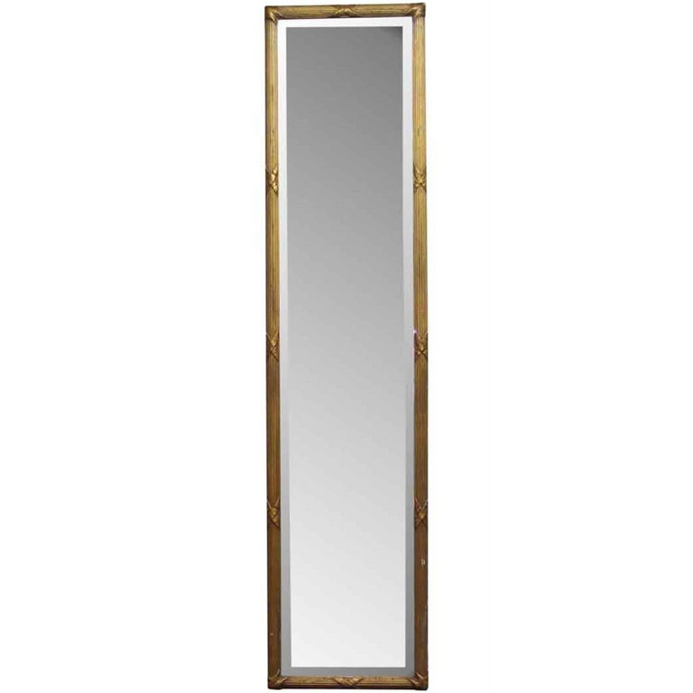 1930s Tall Gilt Frame Wall Mirror with Original Bevelled Glass