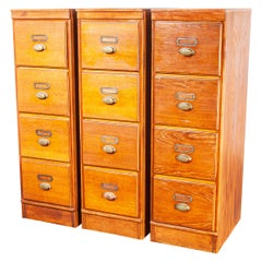 1930's Tall Oak Four Drawer Filing Cabinet - Chest Of Drawers - Three Units