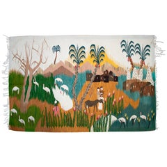 1930s Tapestry with Nile Animal and Palm Tree Scenery