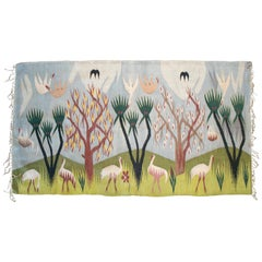 1930s Tapestry with Nile Delta Animal Scenery