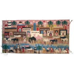 1930s Tapestry with Town Scenery