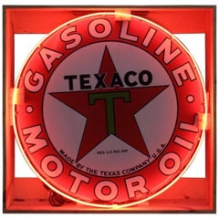 1930s Texaco Motor Oil Single Sided Porcelain Neon Sign