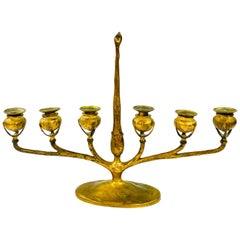 1930s Tiffany & Co. Srudios Bronze Candelabra Minorah