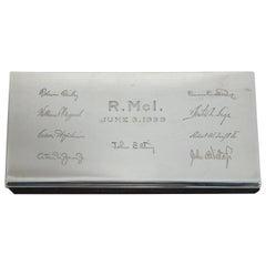 1930s Tiffany Smart & Modern Sterling Silver Desk Box 925 Engraved Jewelry Cigar