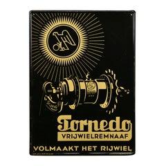 1930s Tin Sign for Torpedo, Bicycle Wheel Brake Naves, Belgium