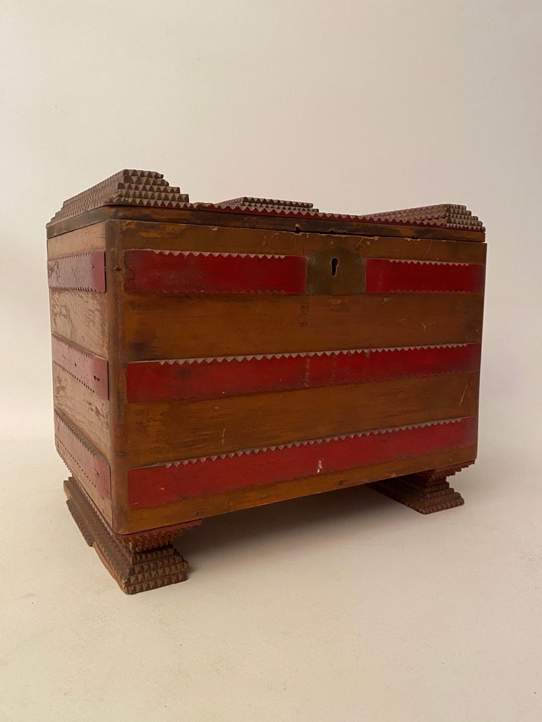 Folk Art 1930s Tramp Art Keepsake Box For Sale