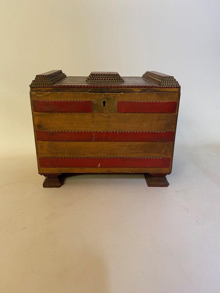 American 1930s Tramp Art Keepsake Box For Sale