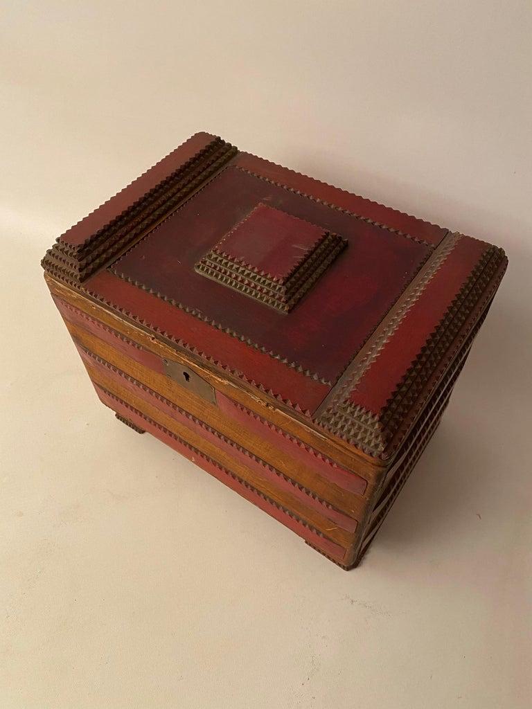 Wood 1930s Tramp Art Keepsake Box For Sale