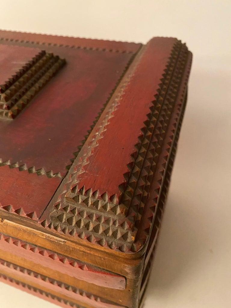 1930s Tramp Art Keepsake Box For Sale 2