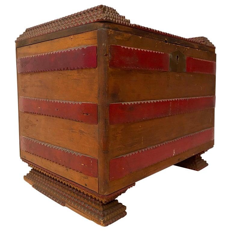 1930s Tramp Art Keepsake Box For Sale