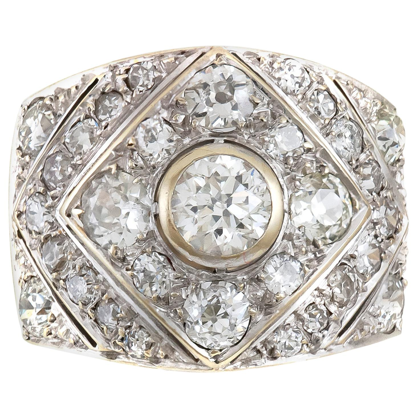 1930s Triangle and Square Platinum with Diamonds Ring