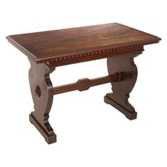 Tuscan Desk, Trestle Side Table, Occasional Table, in Solid Walnut, Wax-Polished