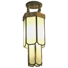 1930s Two-Tier Gold Gilded Bronze and Leaded Glass Art Deco Pendant Light
