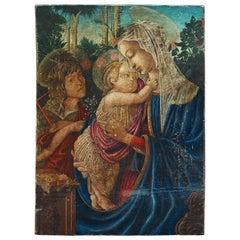 1930's Umberto Giunti Italian Oil Tempera Wooden Panel Madonna Child Rose Garden