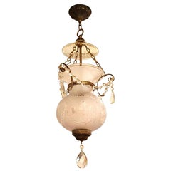 1930s Unique Floral Etched Crystal Bell Jar Lantern with Brass Hardware
