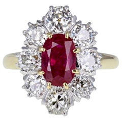 1930s Untreated Burma Ruby Diamond Oval Cluster Ring