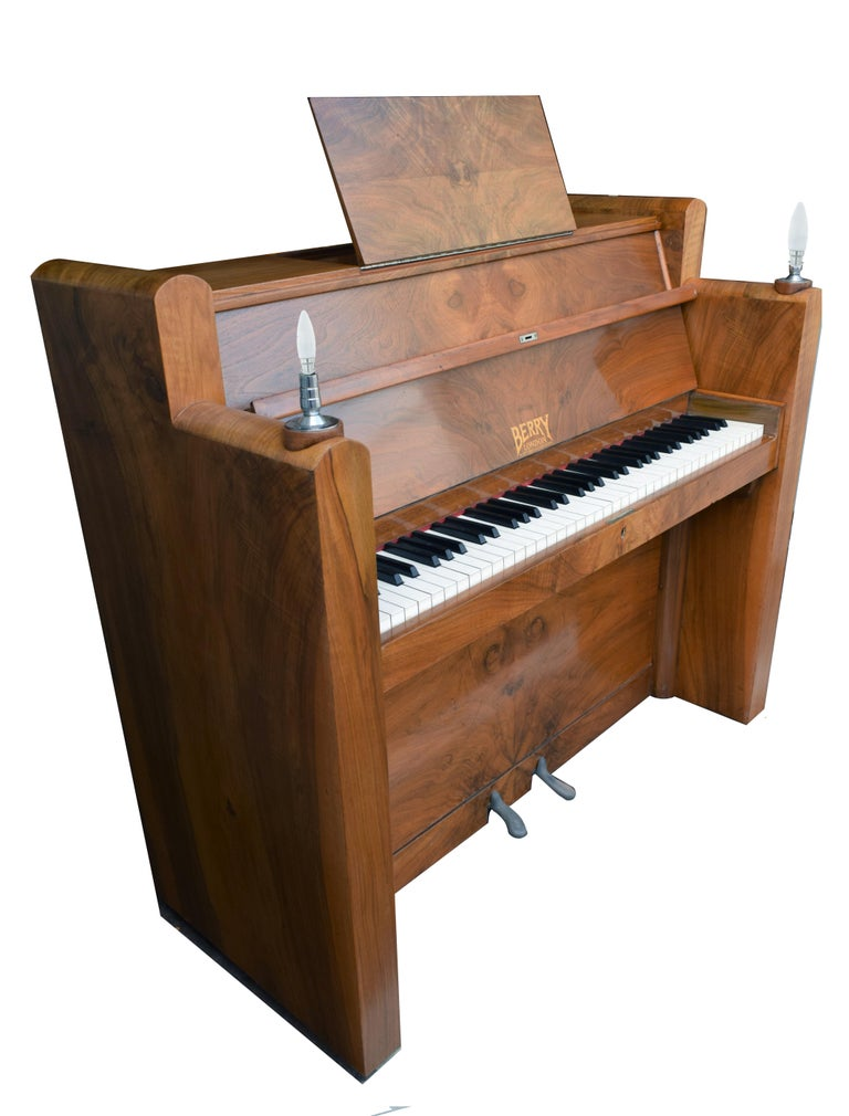 Brass 1930s Upright Art Deco Piano by Berry of London