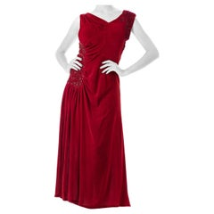1930S Velvet Beaded Red Draped Gown