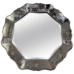 1930s Venetian Art Deco Hexagonal Beveled Floral Etched Glass Mirror