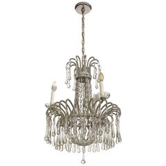 1930s Venetian Silver Finish Chandelier with Teardrop Crystals and Three Lights