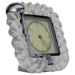"""1930s Venini """"Torchon"""" Twisted Murano Glass Art Deco Table Clock"""