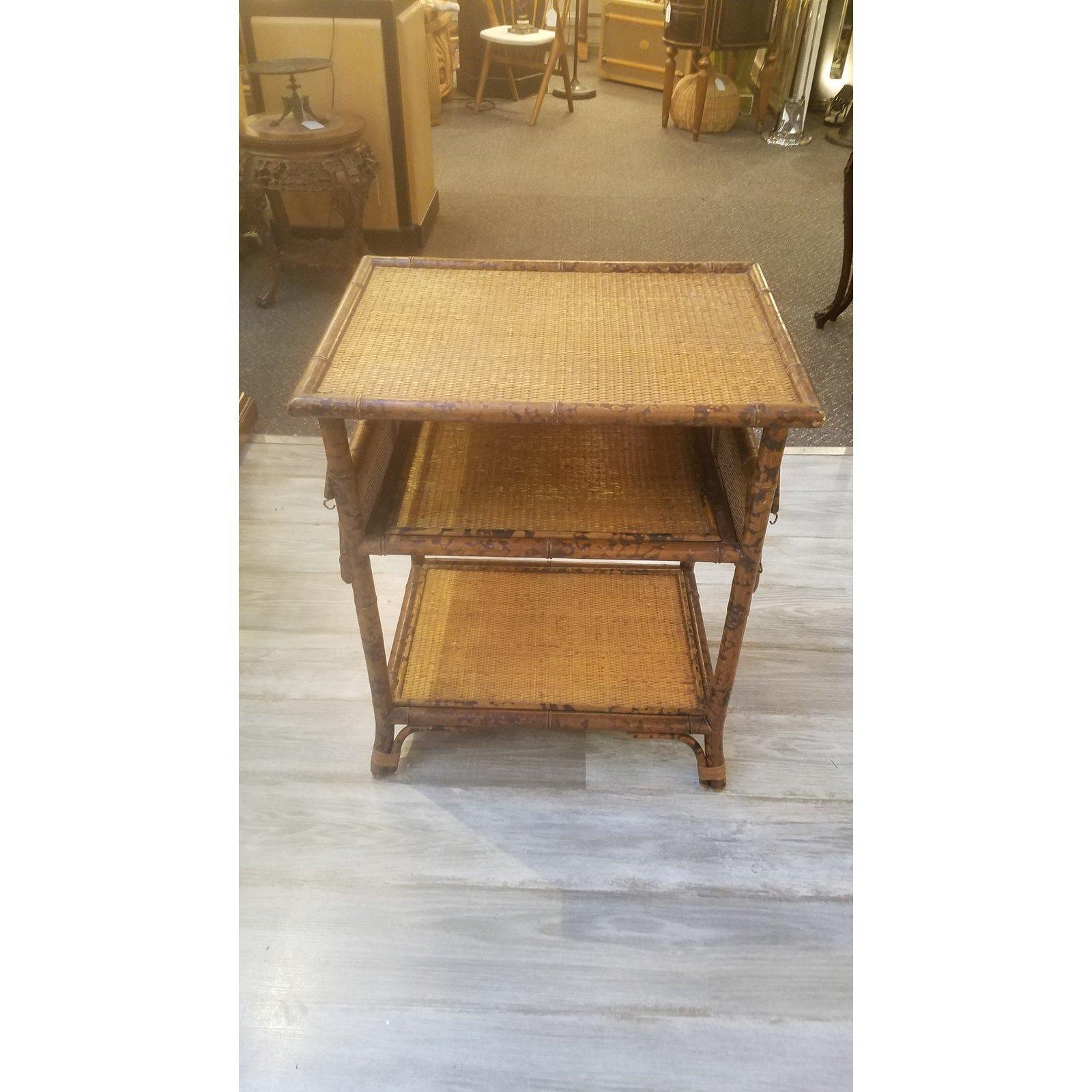 1930s Victorian Tortoise Bamboo End Table With Fold Out Shelves